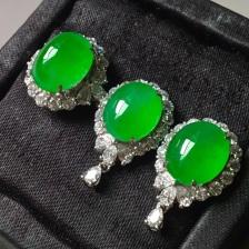 冰阳绿套装,戒指➕耳钉套装