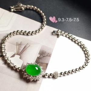 【手链,冰正阳绿】通透,水润细腻,完美,18k金华奢钻镶石嵌☕