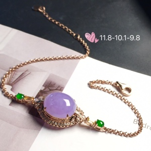 【手链,紫罗兰】通透,水润细腻,完美,18k金华奢钻镶石嵌☕