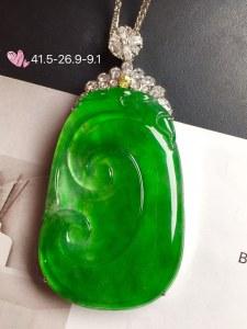 【如意,冰正阳绿】通透,水润细腻,完美,18k金华奢钻镶石嵌☕