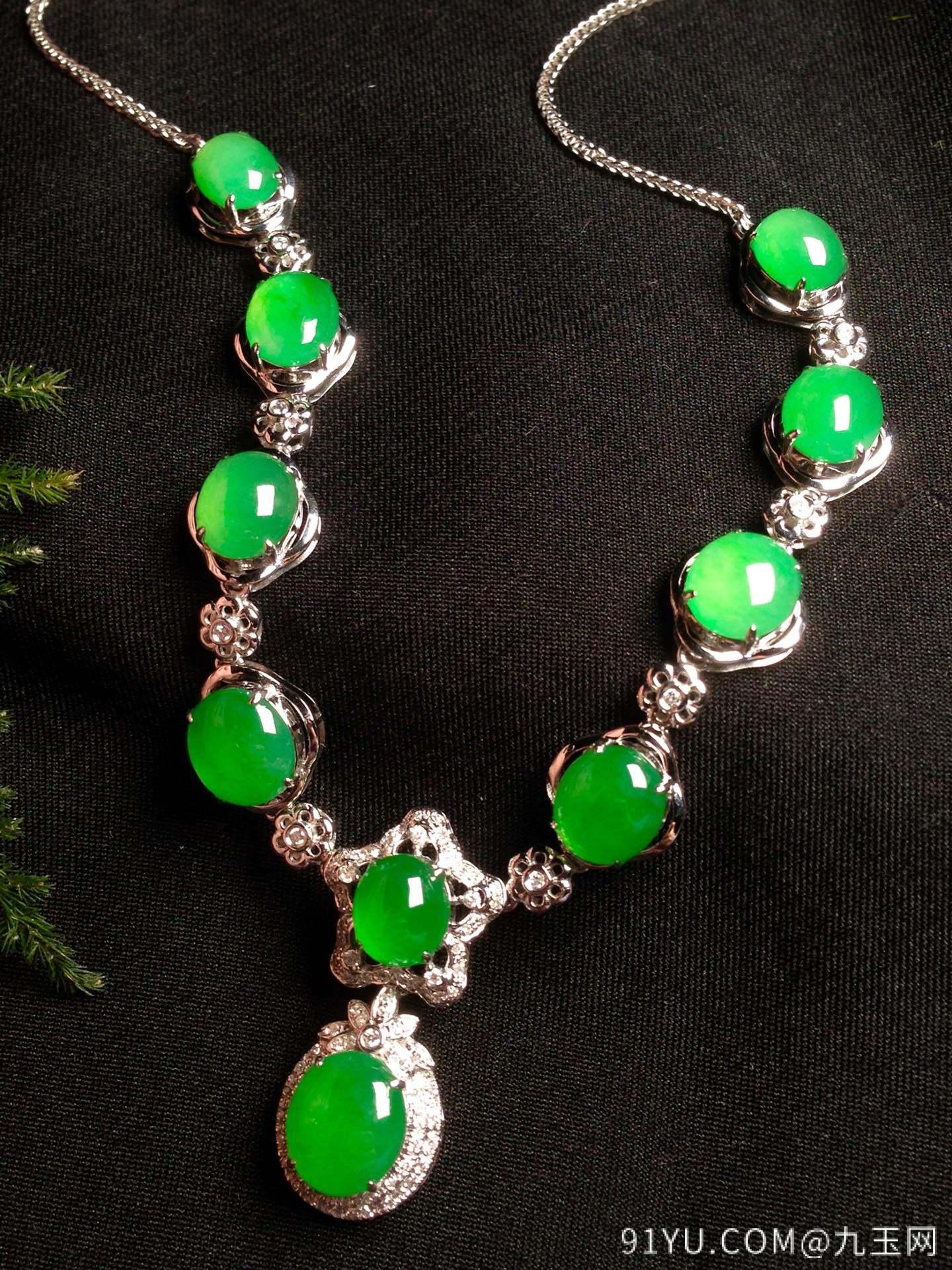 高冰阳绿晚装链,18k金华奢钻镶石嵌第5张