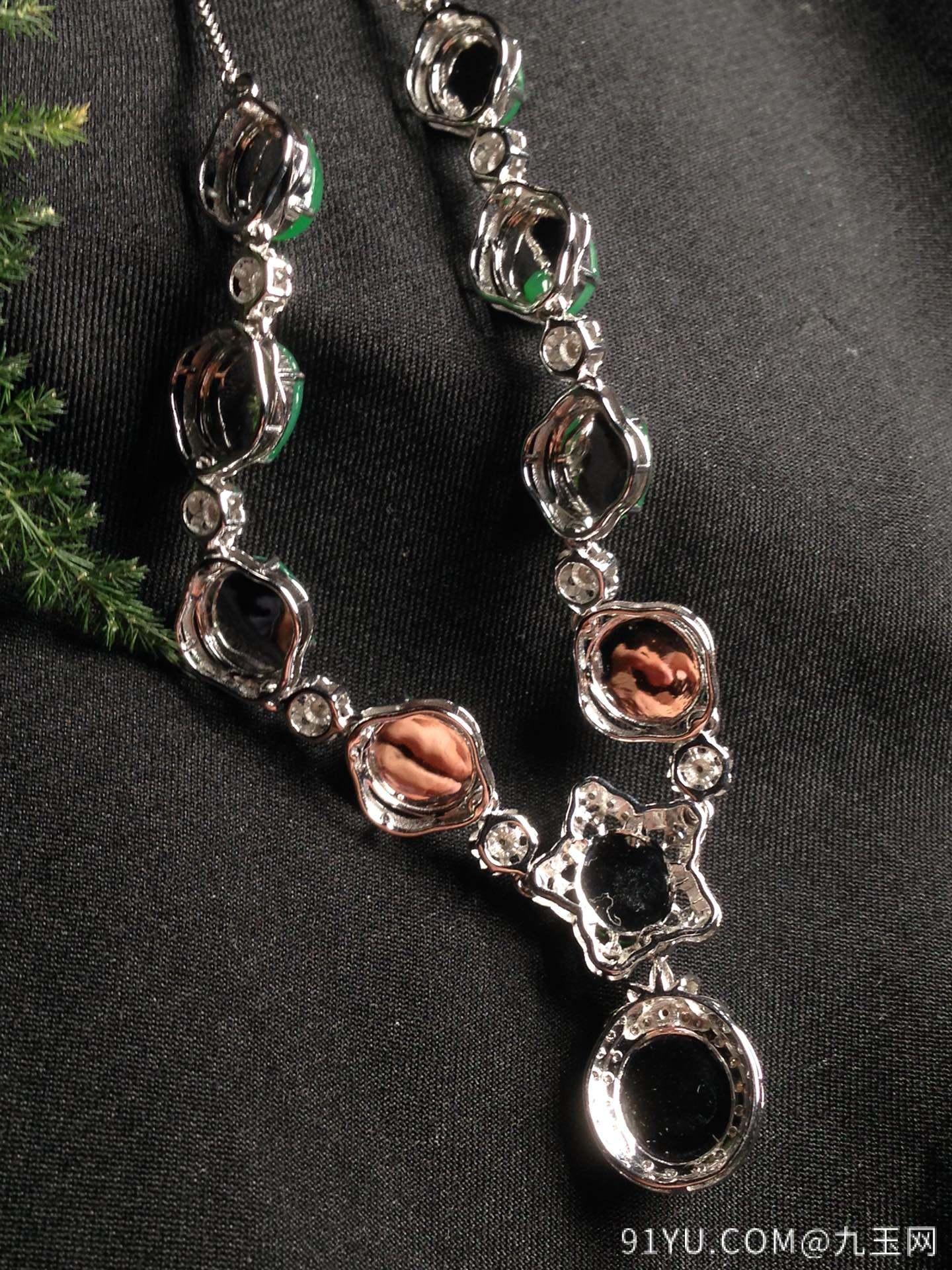 高冰阳绿晚装链,18k金华奢钻镶石嵌第6张