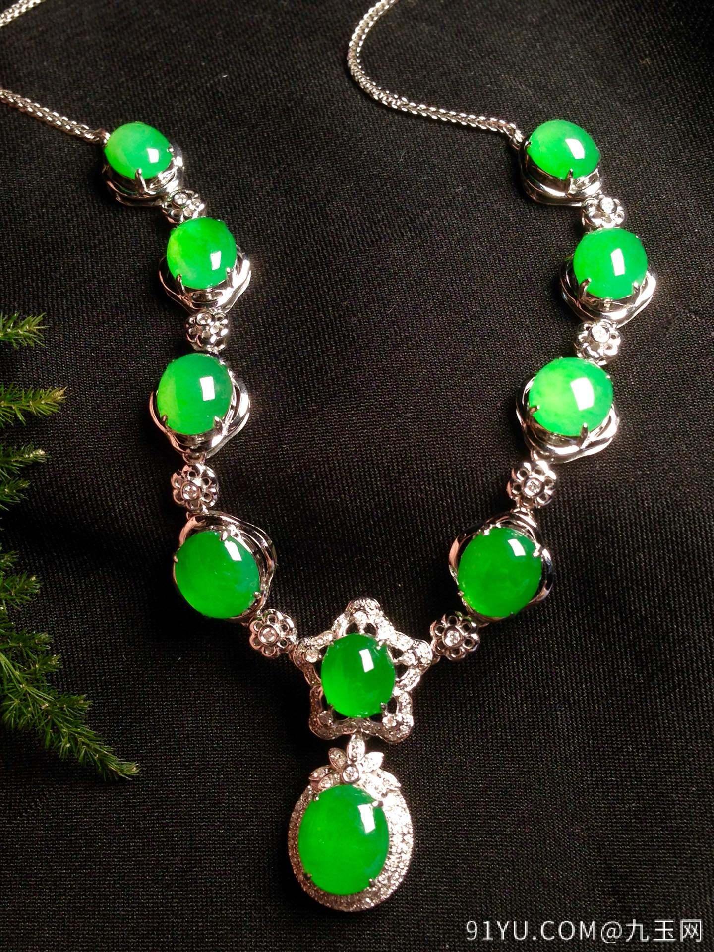 高冰阳绿晚装链,18k金华奢钻镶石嵌第4张
