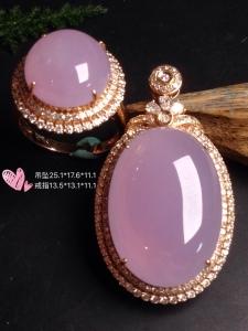 价:一套【冰紫罗兰,大蛋套装】大件饱满,润水细腻,高贵紫,完美,18k金华奢钻镶石嵌☕