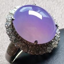 紫罗兰小鸽子蛋戒指,圈口14.5