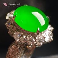冰正阳绿女戒指,18k金华奢钻镶石嵌