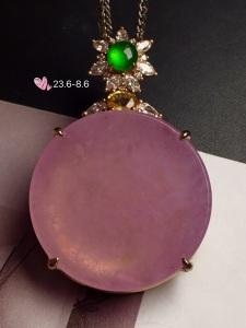 【平安扣,紫罗兰】通透,润水细腻,完美,18k金华奢钻镶石嵌☕