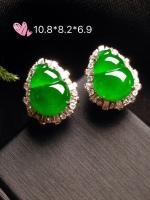 高冰正阳绿葫芦耳钉,18k金华奢钻镶石嵌