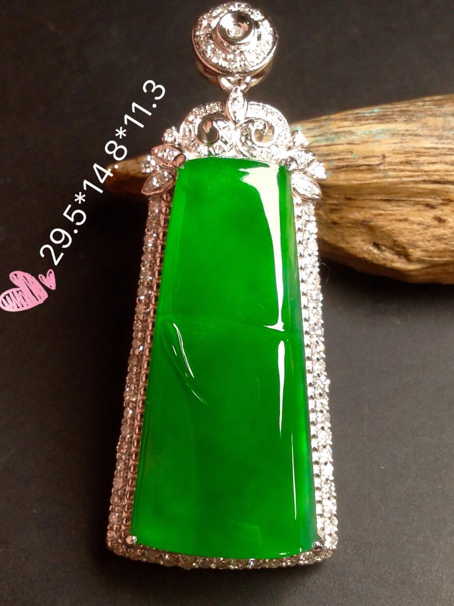 高冰正阳绿大竹节,18k金华奢钻镶石嵌
