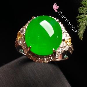 【高冰正阳绿,大蛋戒指】大件饱满,翠色娇艳,润水细腻,完美,18k金华奢钻镶石嵌☕