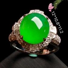 高冰正阳绿大蛋戒指,18k金华奢钻镶石嵌