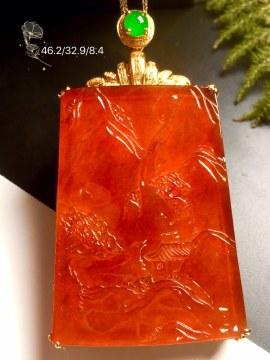 冰红翡翠大山水牌,18k金奢华钻石镶嵌