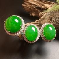 高冰阳绿大蛋面绿蛋套装,戒指+耳钉