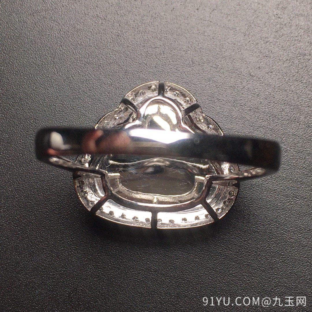 高冰阳绿笑佛戒指水润,18k金奢华钻石镶嵌第6张