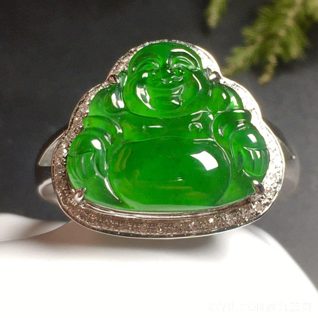 高冰阳绿笑佛戒指水润,18k金奢华钻石镶嵌第4张