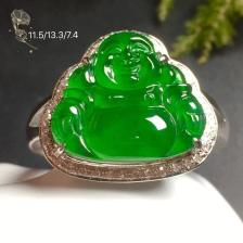 高冰阳绿笑佛戒指水润,18k金奢华钻石镶嵌