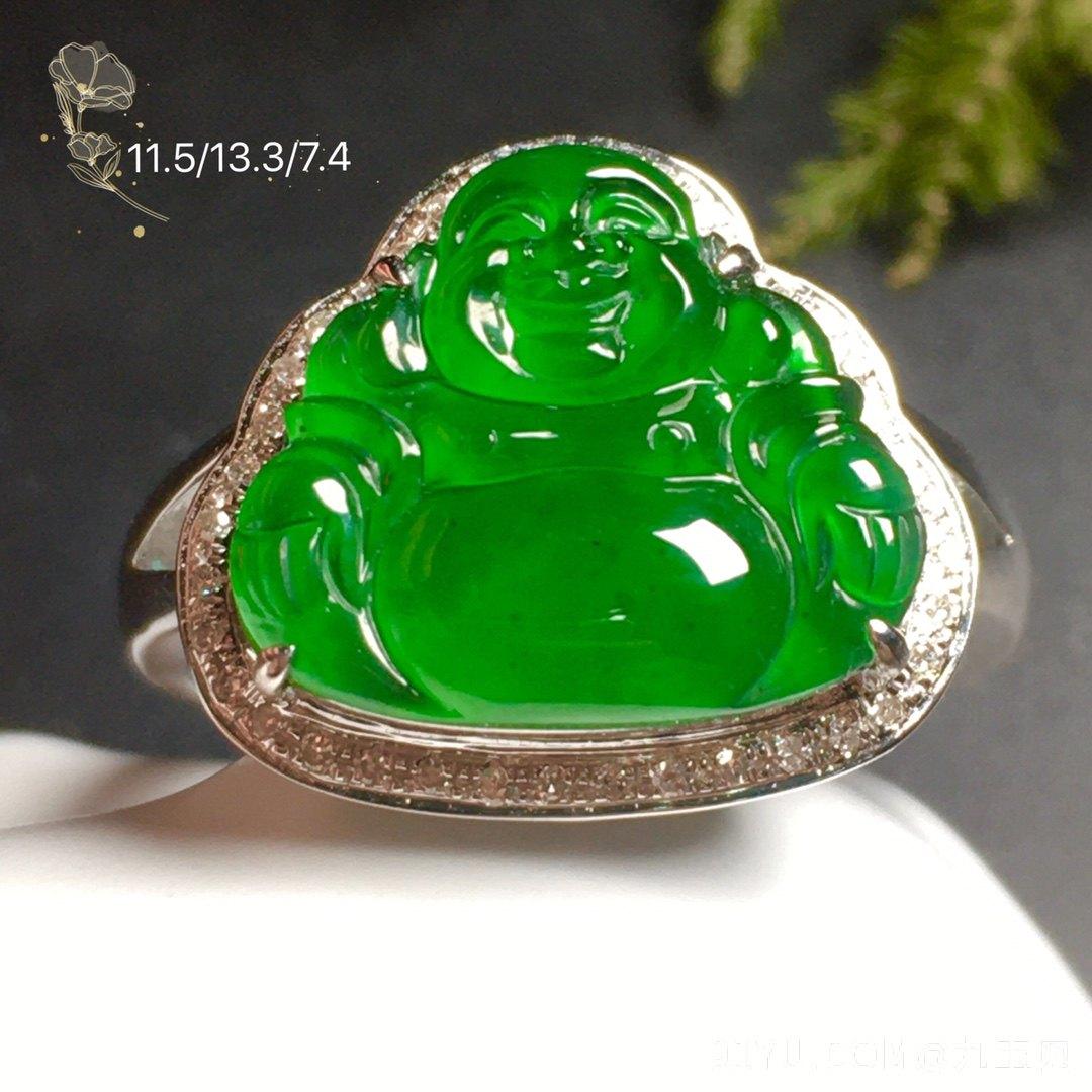 高冰阳绿笑佛戒指水润,18k金奢华钻石镶嵌第1张