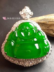 【大佛,冰正阳绿】通透,水润细腻,完美,18k金华奢钻镶石嵌☕