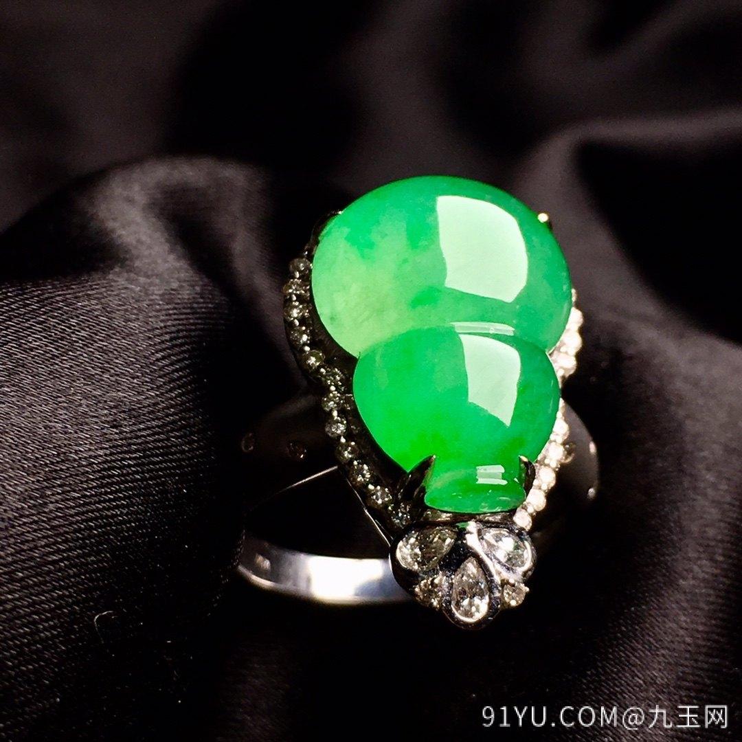 冰陽綠葫蘆戒指,內圈17.5,裸石尺寸17-12.3-5第3張