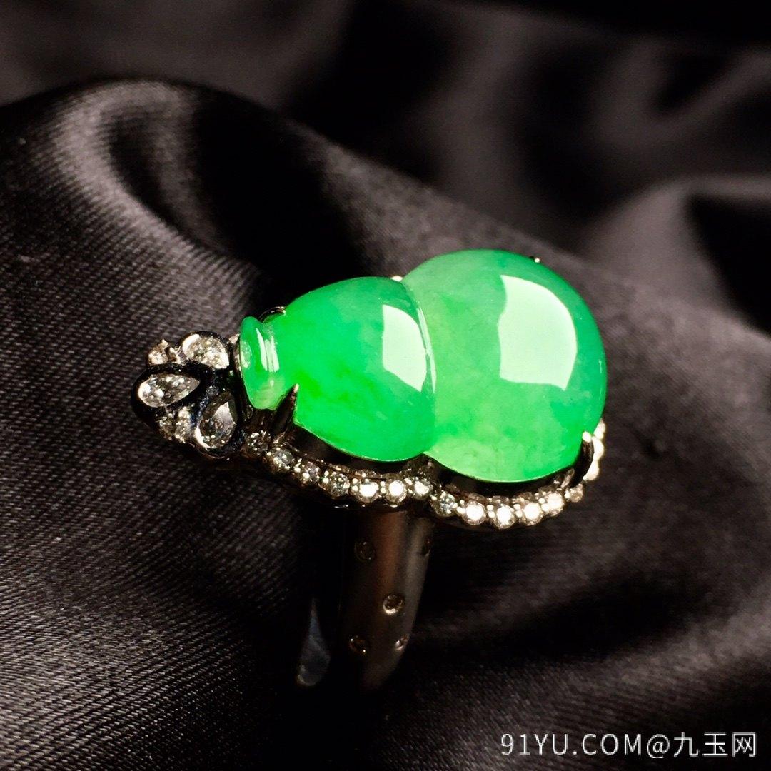 冰陽綠葫蘆戒指,內圈17.5,裸石尺寸17-12.3-5第4張