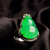 冰阳绿葫芦戒指,内圈17.5,裸石尺寸17-12.3-5