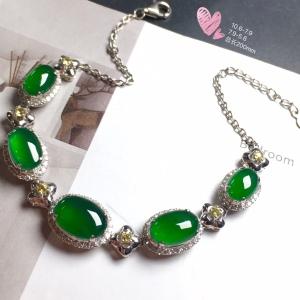 【手链,冰正阳绿】通透,润水细腻,完美,18k金华奢钻镶石嵌☕