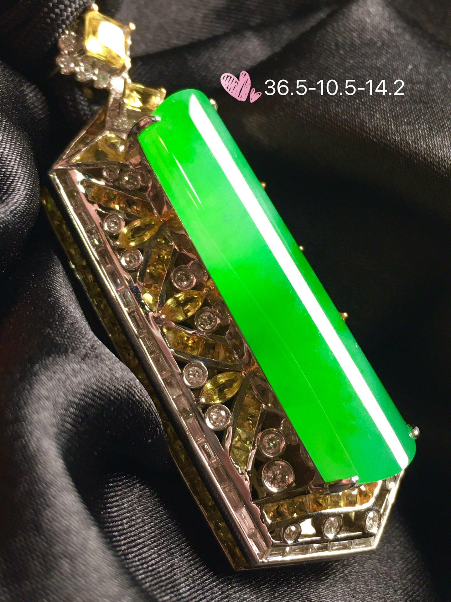 【平安无事牌,冰正阳绿】通透,润水细腻,完美,18k金华奢钻镶石嵌☕