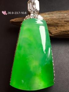价:【竹报平安,冰正阳绿】通透,润水细腻,完美,18k金华奢钻镶石嵌☕