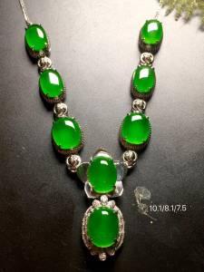 【高冰阳绿,绿蛋项链】水润,玉质细腻,冰绿冰透,完美无暇,18k金奢华钻石镶嵌