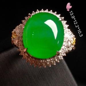 【高冰阳绿,大蛋戒指】大件饱满,翠色鲜艳,润水细腻,完美,18k金华奢钻镶石嵌☕
