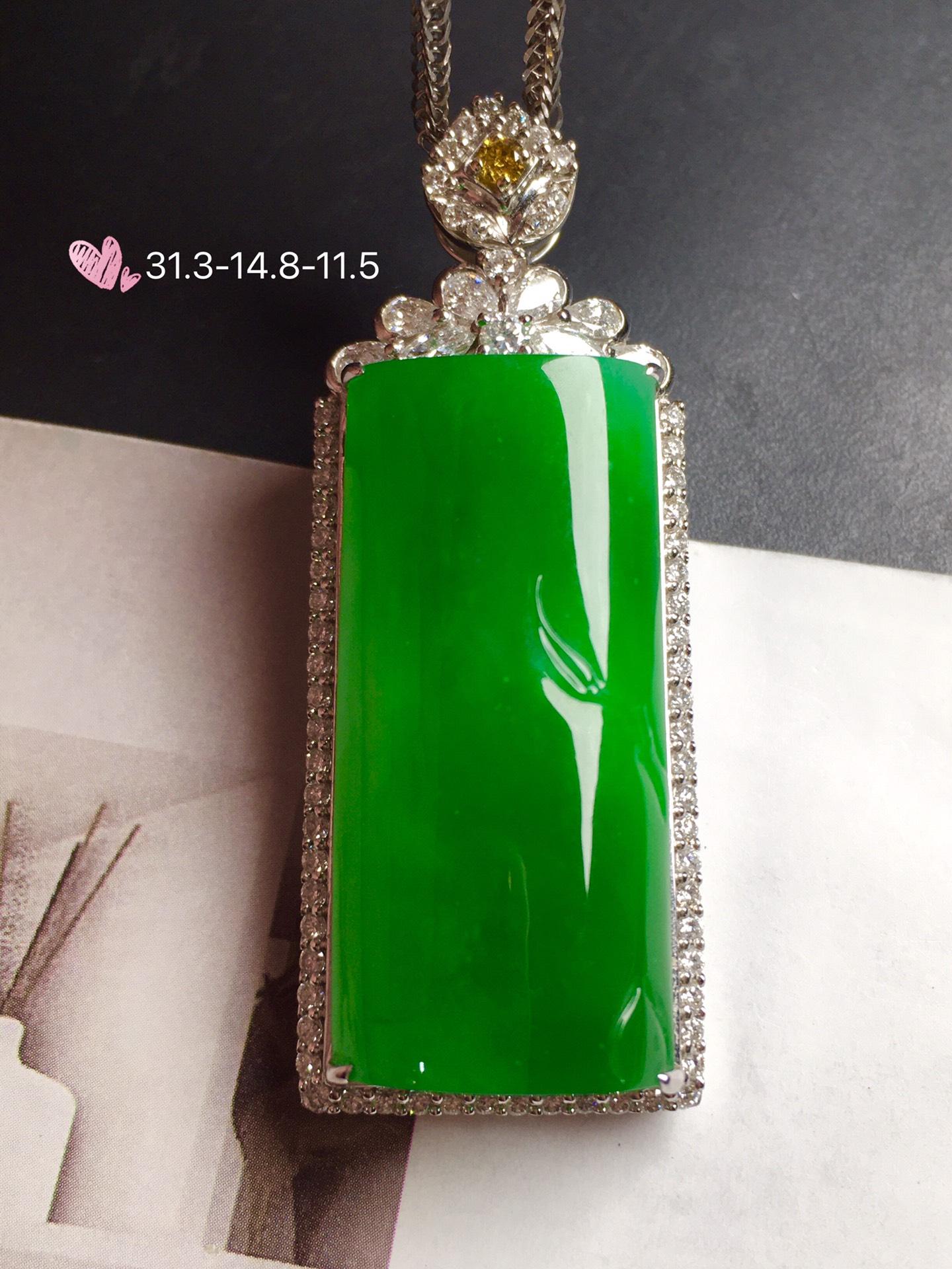 价:【竹报平安,冰正阳绿】通透,润水细腻,完美无瑕,18k金华奢钻镶石嵌☕