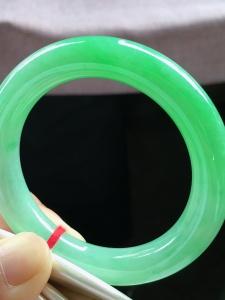 新结缘,圈口53.5,圆条手镯,小圈口,满绿,玉质冰润细腻,性价比高,完美,尺寸53.5-11-10.3mm