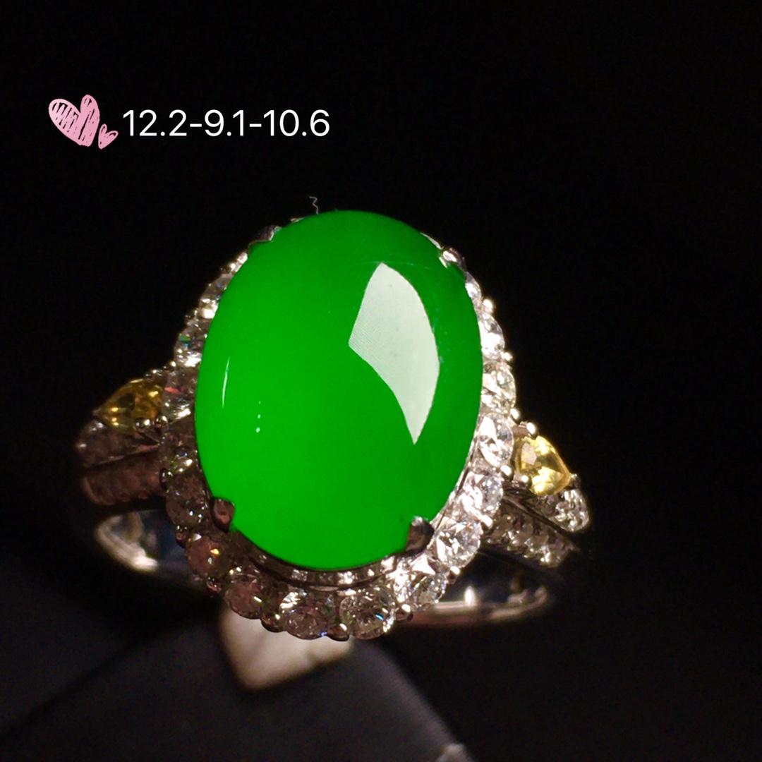 【女戒指,冰正阳绿】很冰透,润水细腻,完美,18k金华奢钻镶石嵌☕