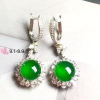 【耳环,冰正阳绿】很冰透,润水细腻,完美,18k金华奢钻镶石嵌☕