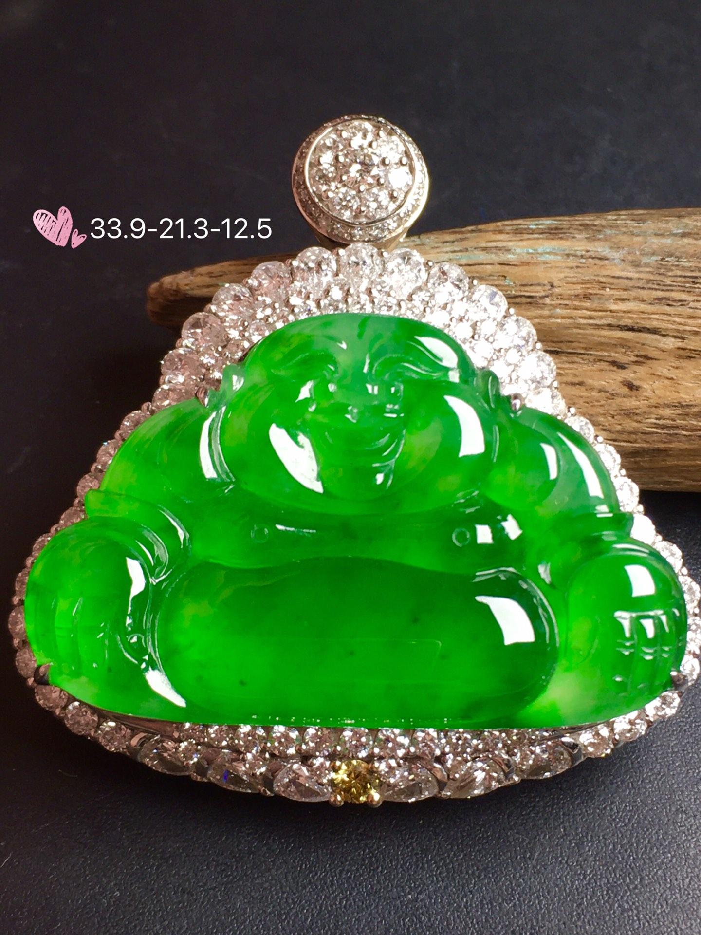 价:【大佛,冰正阳绿】很冰透,润水细腻,完美,18k金华奢钻镶石嵌☕