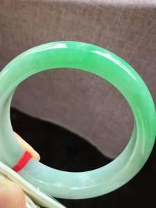 圈口57,正圈手镯,半圈果绿色,水润,超值,完美,尺寸57-13.5-8.3mm