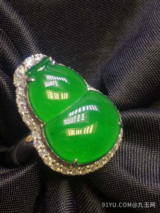 满绿葫芦,吊坠戒指两用款,饱满型好第7张