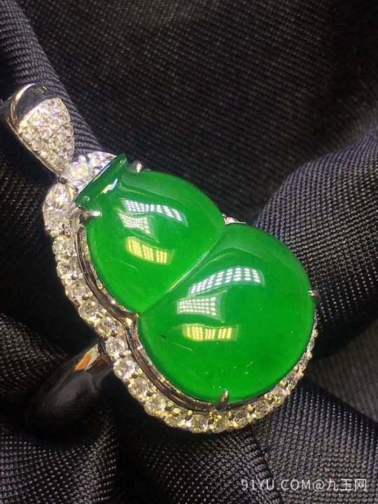 满绿葫芦,吊坠戒指两用款,饱满型好第3张