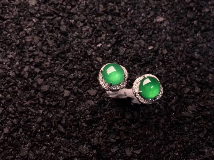 冰陽綠精致耳釘?種色1流 細膩起光 點睛之翠超值不議