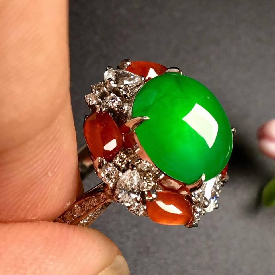 冰阳绿戒指,色阳,戒指内圈17裸石尺寸10.5-9.8-5