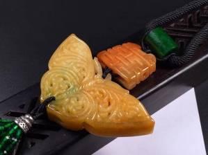 冰糯黄翡雕花蝴蝶➕花件项链,完美度达95%以上,超值捡漏价
