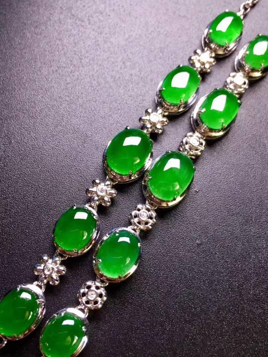 1條 高冰陽綠手鏈    完美飽滿    冰透水綠    色澤艷麗   優雅氣質  18k金鉆鑲嵌  性價比超高    自留或者送禮最佳品