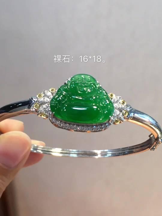 满绿色厚装佛公手环
