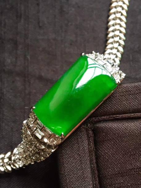 老坑冰种辣绿长条手链,完美通透裸石24.5*13.9*3.6价格