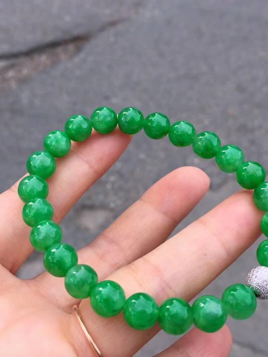 满绿手串 钻石金扣头 种老水足