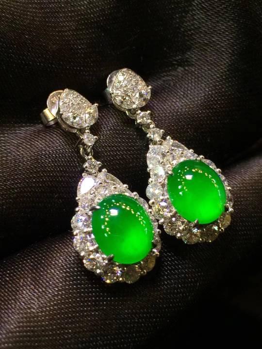 顶级品质荧光正阳绿蛋面耳环,完美无杂质