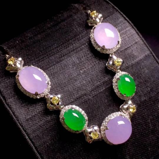 紫罗兰➕阳绿蛋面手链,通透细腻,水灵甜美,时尚大方,尺寸如图,️����
